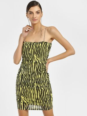 KOOVS Zebra Print Ruched Bodycon Dress