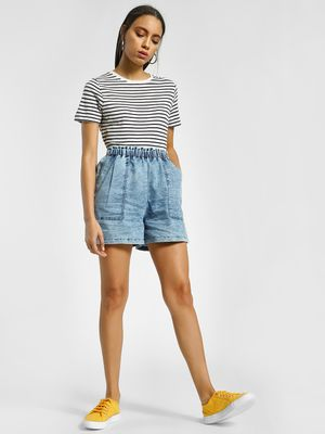 K Denim KOOVS Acid Wash Paperbag Shorts