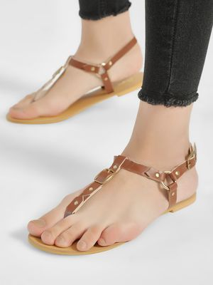 People T-Strap Studded Flat Sandals