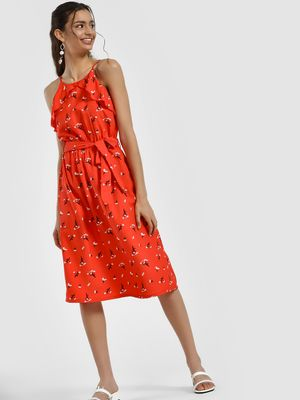 People Floral Print Midi Dress
