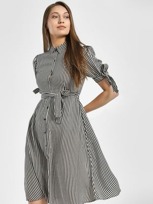 People Vertical Stripe Tie-Knot Shirt Dress