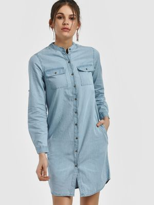People Chinese Collar Denim Shirt Dress