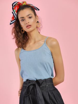 People Light Wash Denim Cami Top