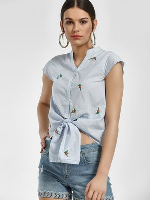 People Stripe Floral Embroidered Knot Shirt