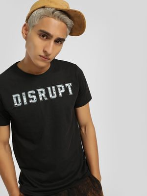 Disrupt Camo Embossed Text Print T-Shirt