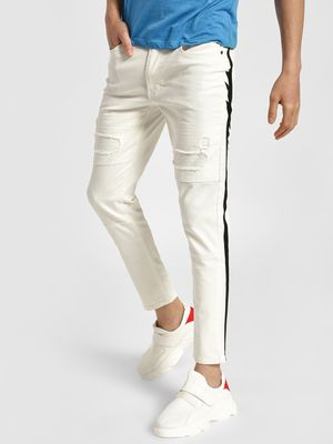Kultprit Contrast Side Tape Distressed Panelled Jeans
