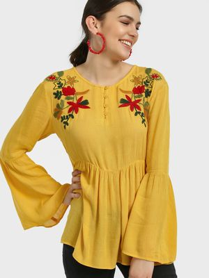 Kisscoast Floral Yoke Embroidered Blouse