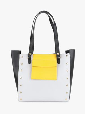 Gusto Colour Block Studded Tote Bag