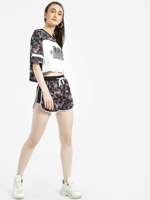 KOOVS Jungle Print Mesh Panel Shorts