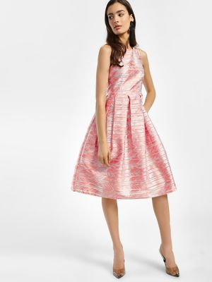 Vero Moda Marquee Abstract Stripe Jacquard Skater Dress
