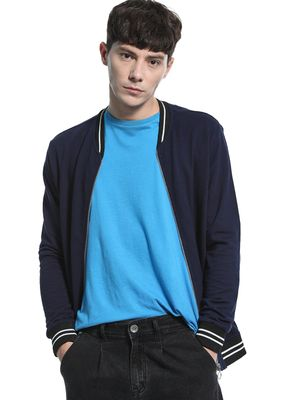KOOVS Baseball Collar Knitted Sweat Jacket