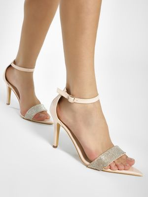 KOOVS Diamante Embellished Patent Stiletto Sandals