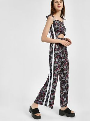 KOOVS Tropical Zebra Print Strappy Jumpsuit