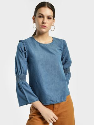 Flying Machine Smocked Bell Sleeve Denim Top