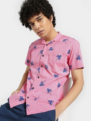 AMON Cuban Collar Tropical Print Shirt