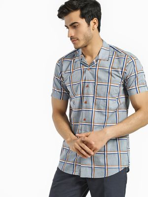 AMON Windowpane Check Cuban Collar Shirt