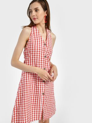 Sbuys Halter Neck Gingham Check Shift Dress