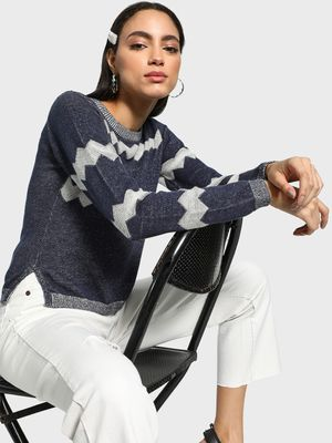 Akiva Two-Tone Chevron Pullover