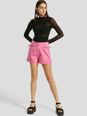 KOOVS High Waist Buckle Shorts