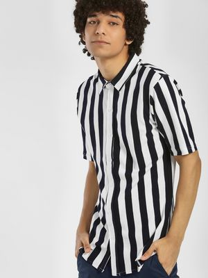 Garcon Pique Vertical Stripe Slim Shirt