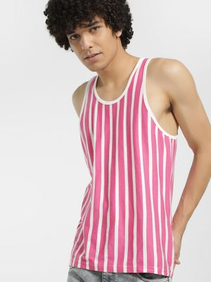 Garcon Vertical Stripe Contrast  Piping Vest