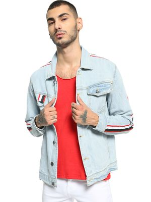 K Denim KOOVS Contrast Tape Light Wash Denim Jacket