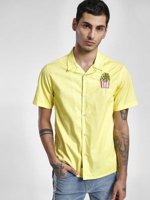 KOOVS Fries Embroidered Cuban Collar Shirt