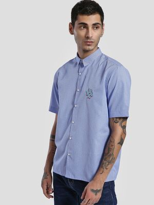 KOOVS Micro Check Hashtag Patch Shirt