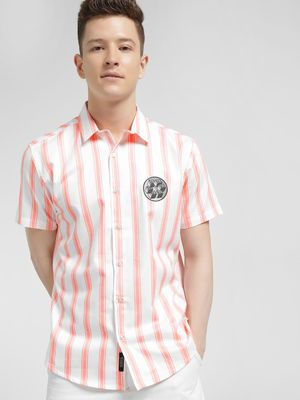 KOOVS Vertical Stripe Badge Applique Shirt
