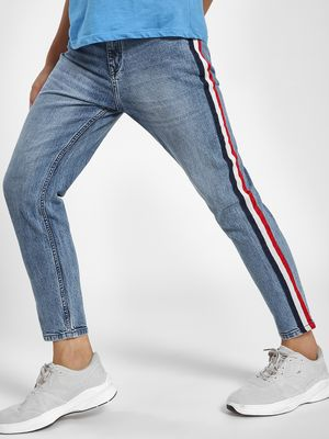 K Denim KOOVS Contrast Side Tape Light Wash Slim Jeans
