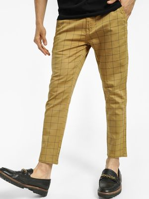 KOOVS Grid Check Cropped Slim Trousers