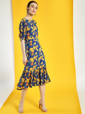 Closet Drama Lemon Print Midi Dress