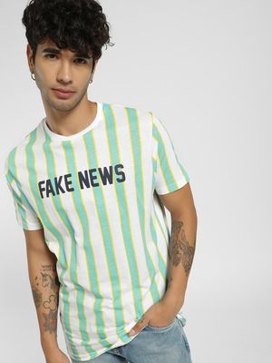 Brave Soul Fake News Vertical Stripe T-Shirt