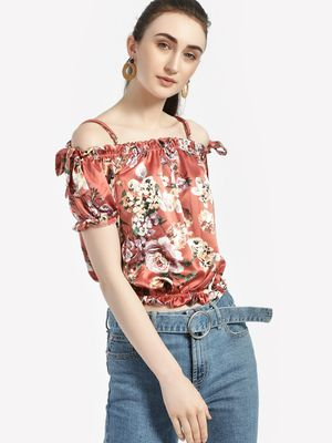 Iris Floral Cold Shoulder Crop Top