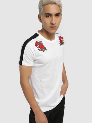 Brave Soul Rose Embroidered Side Tape T-Shirt