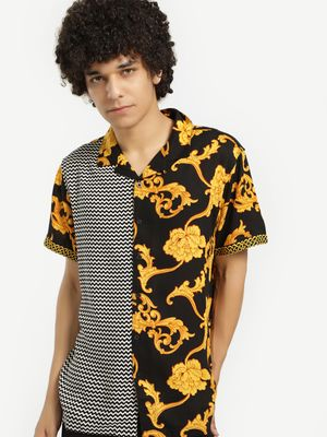 Brave Soul Cuban Collar Half And Half Print Shirt