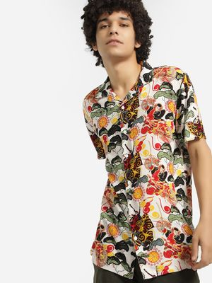 Brave Soul Japanese Dragon Print Cuban Shirt
