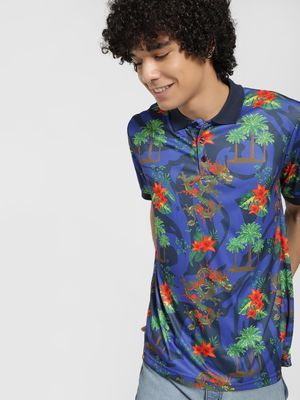 Brave Soul Tropical Floral Print Polo Shirt