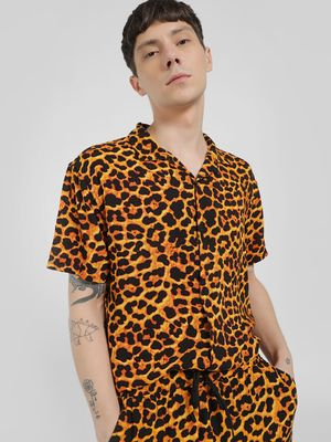 Brave Soul Animal Print Cuban Collar Shirt