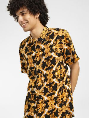 Brave Soul Baroque Print Cuban Collar Shirt
