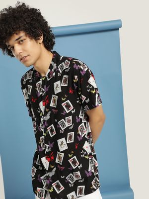 Brave Soul Cuban Collar Poker Print Shirt