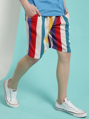 Brave Soul Colour Block Stripe Print Shorts