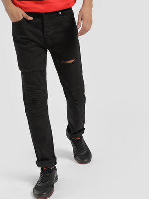 Brave Soul Biker Panel Distressed Slim Jeans