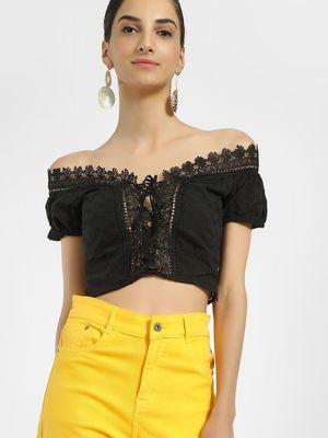 Iris Broderie Lace Detail Crop Top