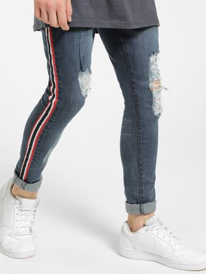Brave Soul Distressed Side Tape Skinny Jeans