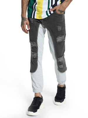 K Denim KOOVS Distressed Denim Panel Joggers