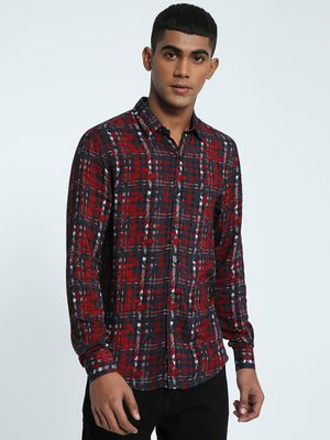 KOOVS Abstract Camo Check Shirt