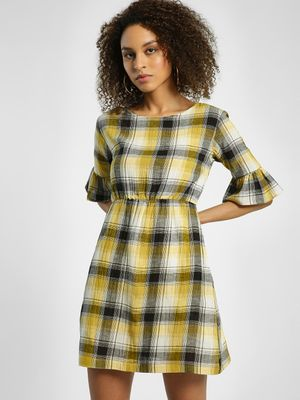 KOOVS Yarn Dyed Check Skater Dress