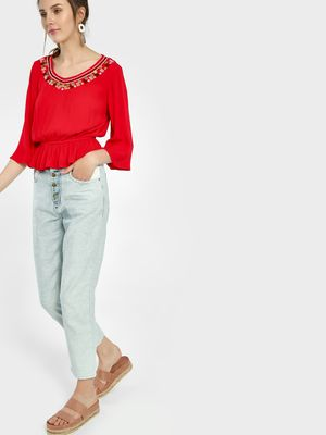 Freakins Light Wash Cropped Straight Jeans