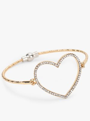 Saks London Cut Out Diamante Heart Bracelet